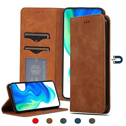 Liluyao Funda telefónica para Xiaomi para redmi K30 / K30 Poco F2 Pro Skin Caso Retro Pro Pro Ampliar/Feel Negocios magnético Horizontal del tirón del Cuero (Color : Brown)