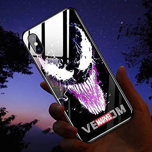 NMEGOU Naruto Sasuke Call Flash Luminescent Glass Anti-Fall Mobile Phone Shell Illuminated for Iphone11 pro max/XR X/XS Max (Venom, iPhone 7/8)