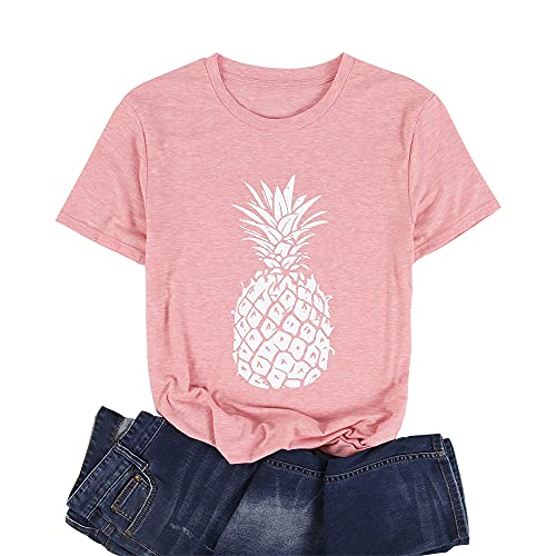 Women's Sunflower Summer T Shirt Plus Size Loose Blouse Tops Girl Short Sleeve Graphic Casual Tees (Pink-E, XX-Large, xx_l)