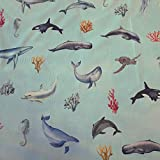 Stoff Baumwollstoff Meterware Wal Delfin Schildköte Orka