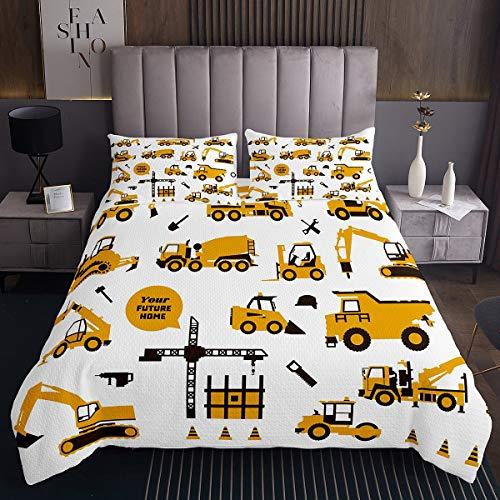Karikatur Lastwagen Bettdecken-Set, Kinder Lastwagen Bagger Gesteppte Coverlet 170x210 Gelb Fahrzeug Bettwäsche Set Ausrüstung Trucks Dekor Bettdecke für Mädchen Jungen Traktor für Schlafzimmer Dekor
