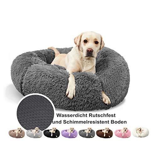 Hundebett Waschbar Runde Hundekorb, Deluxe Round Pet Bett Atmungsaktiv, Pflegeleicht, für große und extra große Hunde - Grau Ø 110cm