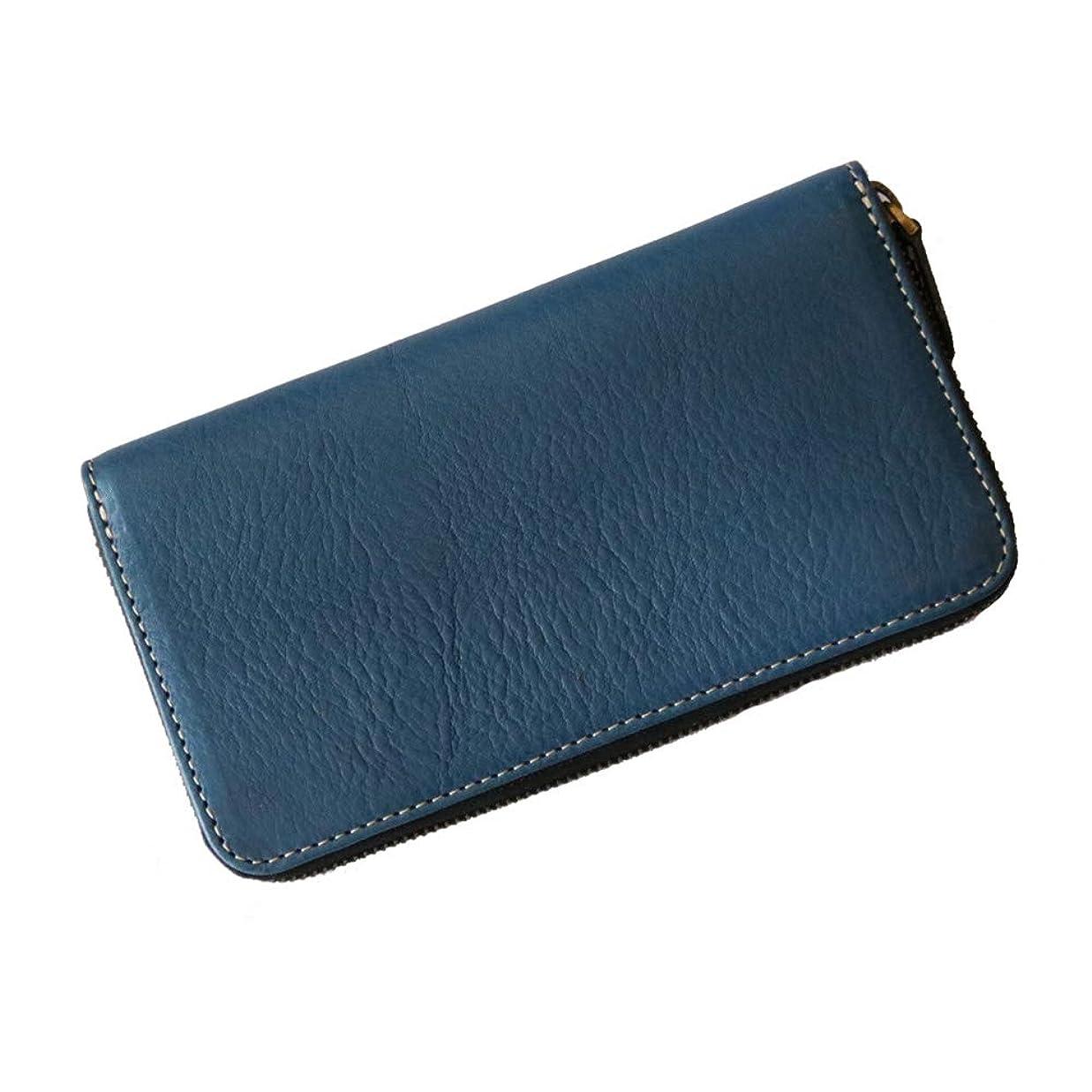開示する家熱狂的な国産栃木レザーの大容量ラウンドファスナー財布 (ブルー)
