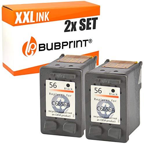 2 Bubprint Druckerpatronen kompatibel für HP 56 für DeskJet 5150 5550 5600 5650 5652 OfficeJet 5510 5605Z 5610 5615 PhotoSmart 7760 PSC 1110 1210 1215 1315 1315S 1350 Schwarz