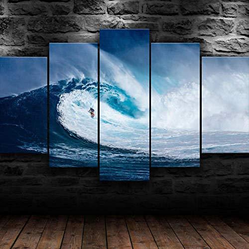 Mural 5 Piezas Pintura En Lienzo,5 Piezas Cuadros En Lienzos Mar Ola Surf Marina Naturaleza Modular Moderna 5 Piezas,Mural Pared Salon 3D,Decorativo Pared,Listo Para Colgar,Creative Gift Xxl 150X80Cm