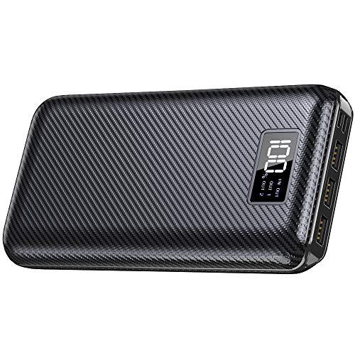 KEDRON Powerbank 24000mAh Externer Akku mit USB C&Micro 2 Eingänge und 3 Ausgänge Power Bank Handy für Smartphones, Tablett-Schwarz …