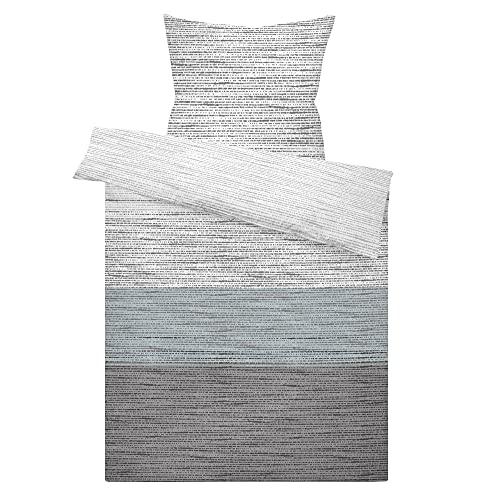 LARAWELL Bettwäsche 135x200 Baumwolle grau blau gestreift Premium