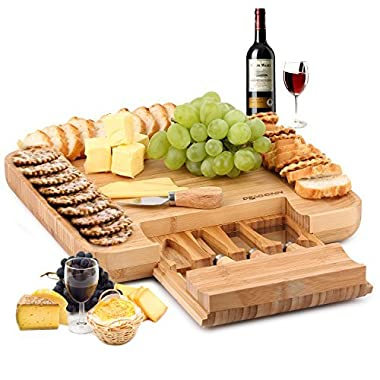 DRAGONN 100% Natural Bamboo Cheese Board & Charcuterie Platter with Slide-Out Drawer for Cutlery Stainless Steel Knife Set - Perfect for Serving Crackers, Meat & Cheeses - Perfect Gift