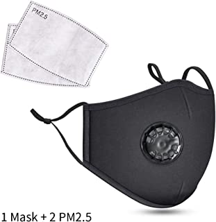 Safety Dust Mask,Breathing Valve Respirator with 2 PM2.5 Filters,Easy Breathe Reusable Washable Face Mask,Protection from Dust, Pollen, Pet Dander, Other Airborne Irritants (Black)