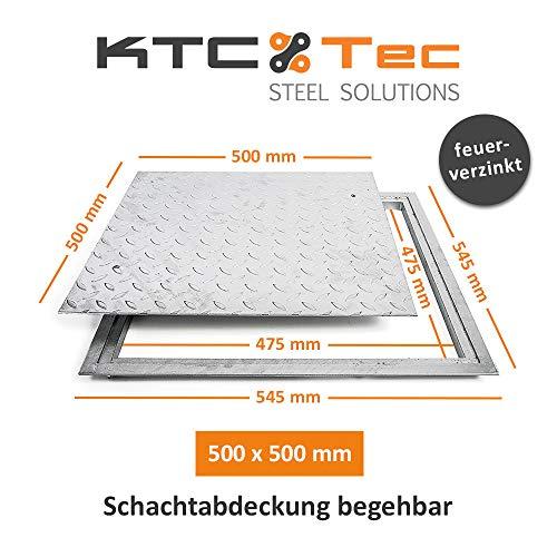 SA-50 Stahl Schachtabdeckung verzinkt begehbar 500 x 500 mm Tränenblech Schachtdeckel Deckel mit Rahmen Kanalschacht quadratisch eckig