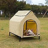 AmazonBasics Elevated Portable Pet House, Small (35 x 32 x 26 Inches), Khaki
