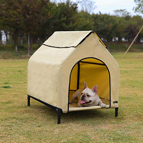 Amazon Basics Erhöhte, tragbare Haustier-Hütte, Größe S, Khaki