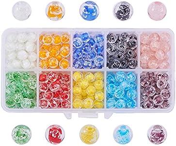 PandaHall Elite 350 Pcs Cuentas de Cristal de Murano Hechas a Mano, Redondas, de Color Mixto, 8 mm, Agujero: 1 mm
