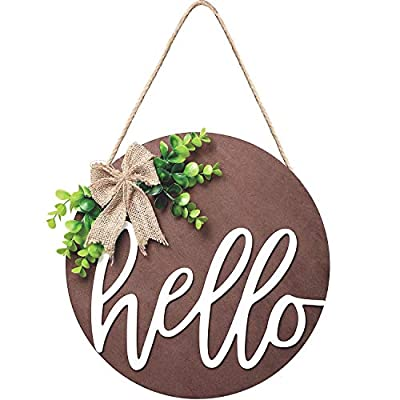 Hello Sign Rustic Front Door Decorative Round Wood Farmhouse Porch Decoration Home, Antique Wood Round Sign Hello Door Sign, Brown