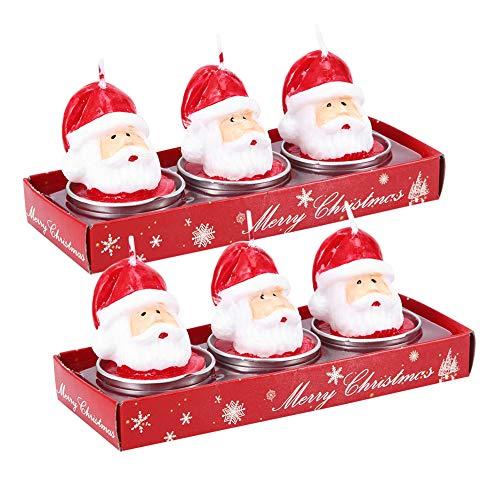 Velas decorativas de Navidad con forma de cabeza de Papá Noel, decoración navideña, boda, fiesta en el hogar