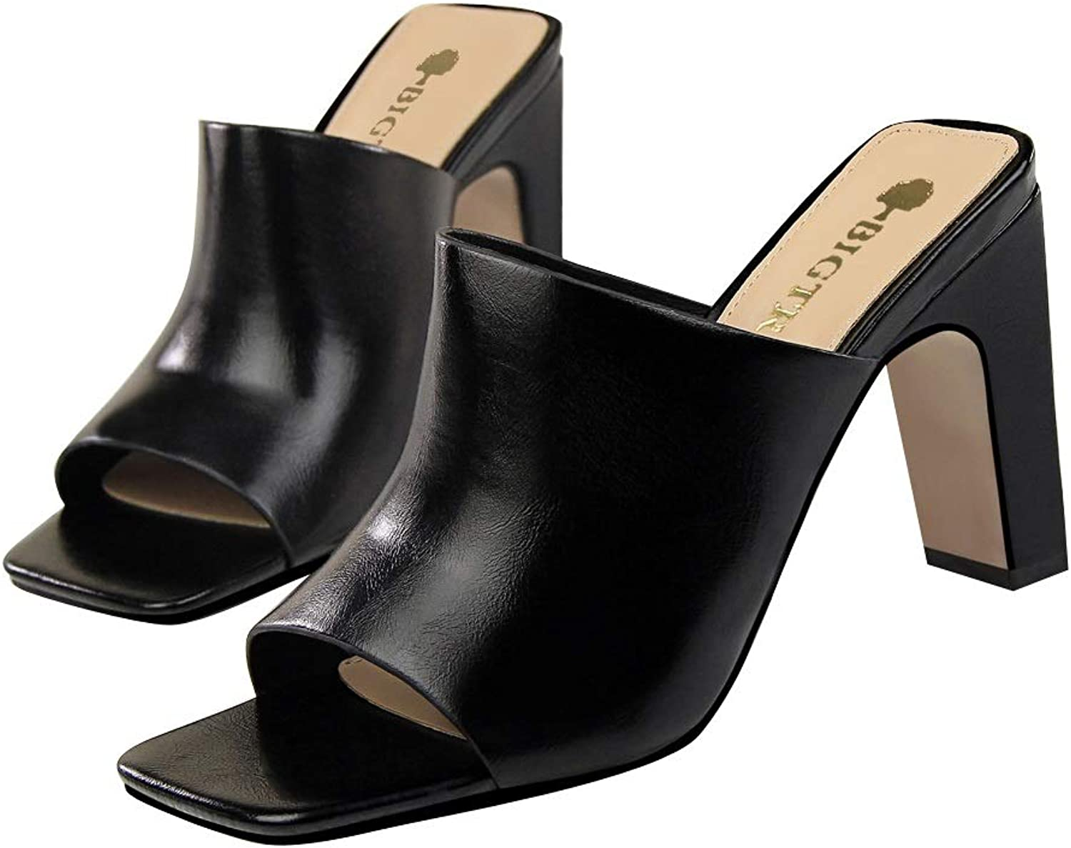Women's High Heel Sandals, Peep Thick Heel Leather Square Head Fish Mouth Fashion Sandals And Slippers