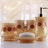 XY-QXZB Cuarto de baño Cinco Piezas Set Resina Europea Vintage clásico de Lujo 3D Accesorios de decoración Kit de baño Regalos de Boda Housewarming para el Hotel y el hogar, Gold
