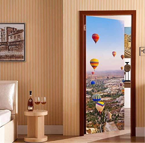 Türaufkleber Kreative 3D Heißluftballon Tür Aufkleber Diy Wohnkultur Selbstklebende Tapete Wasserdichte Wandgemälde Für Schlafzimmer Tür Renovierung