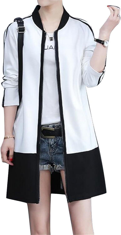 Jotebriyo Womens color Blocked Longline Slim Fit Zipper Coat Mandarin Collar Fashion Sweatshirt
