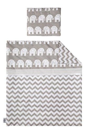 KempKids Bettzeug Set: Decke + Kissen Kinderbett Kinderwagen Säugling Kind Elefanten