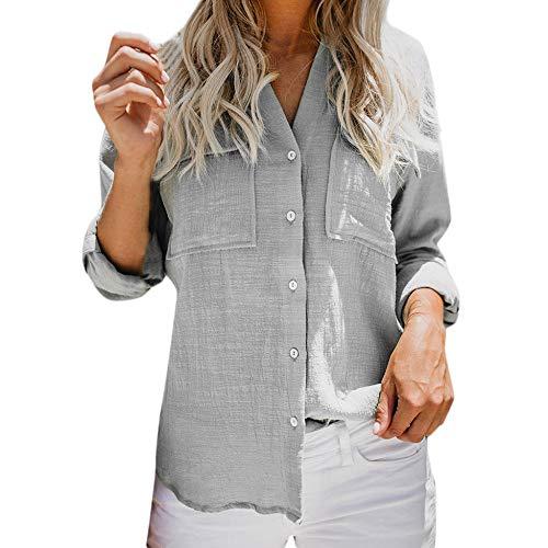 Xmiral Bluse Damen Knöpfen Sie herauf Hemden Einfarbig Langarm Shirt Tops mit Brusttasche Beiläufig Atmungsaktiv Elegant Hemden...