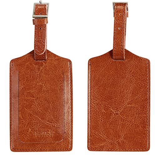 BSWolf Genuine Leather Luggage Tag Travel Suitcase Bag Baggage Tags 2 pcs Set (vintage brown light 038)