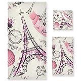 PIXIUXIU - Juego de 3 toallas de algodón altamente absorbentes, de secado rápido, diseño de la Torre Eiffel de París