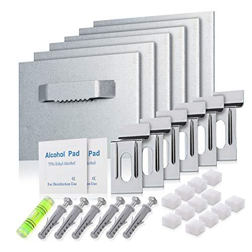 Pearway® - selbstklebende Aufhängung für Bilder aus Acrylglas, Acryl, Alu Dibond oder Spiegel - [6er Set] - extra starker 3M Kleber - Set zum Bilder aufhängen