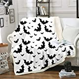 Feelyou Bat Fuzzy Throw Blanket Soft Fluffy Fleece Blankets Black and White Microfuber Plush Blankets 60'X80'