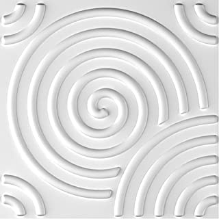 Paintable 3D Texture Wall Panels, White Vortex, Pack of 12 Tiles 32 Sq Ft (Plant Fiber)