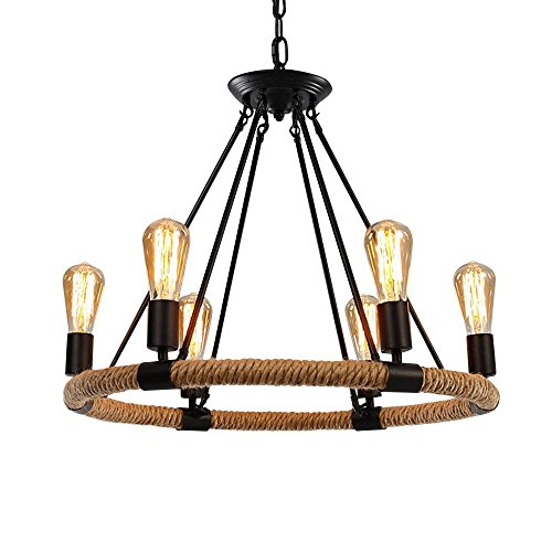 OYI Hemp Rope Style Pendant Light, 6 Lights Retro Industrial Chandelier Metal Island Light Chain Ceiling Lamp E26 Socket