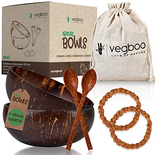 vegboo Coconut Bowls Set of 2 Including E-Book - 100% Sustainable Plastic- Coconut Bowl - Handmade with Extensive Accessories - Ideal as Cereal Bowl, Vegan Food, Acai and Smoothie Bowl