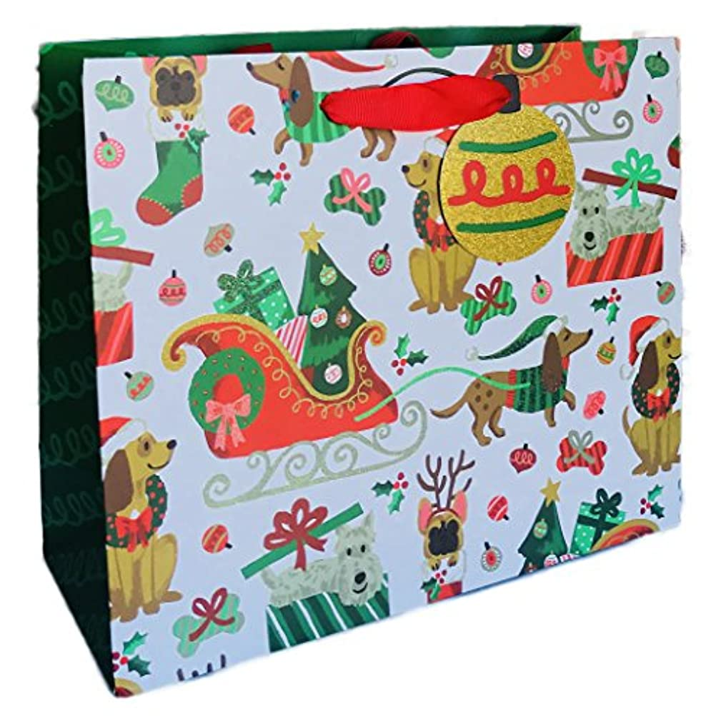 Festive Holiday Dogs Christmas Themed Gift Bag 8.5
