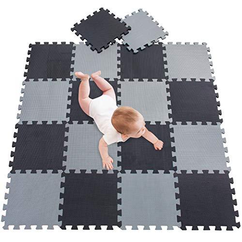 meiqicool Alfombra Puzzle Bebé 18 Piezas - Alfombra Infantil Puzzle para Niños Espuma Infantil Juego Alfombrillas 30x30cm Alfombra Puzle Protección para El Piso Negro Gris 0412