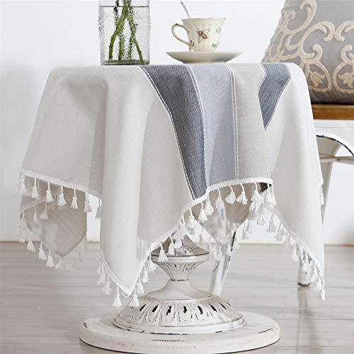 小さな正方形のテーブルクロスコットンリネン刺繍ステッチタッセルテーブルカバー用家の装飾パーティー結婚式屋外グレー 90×90CM