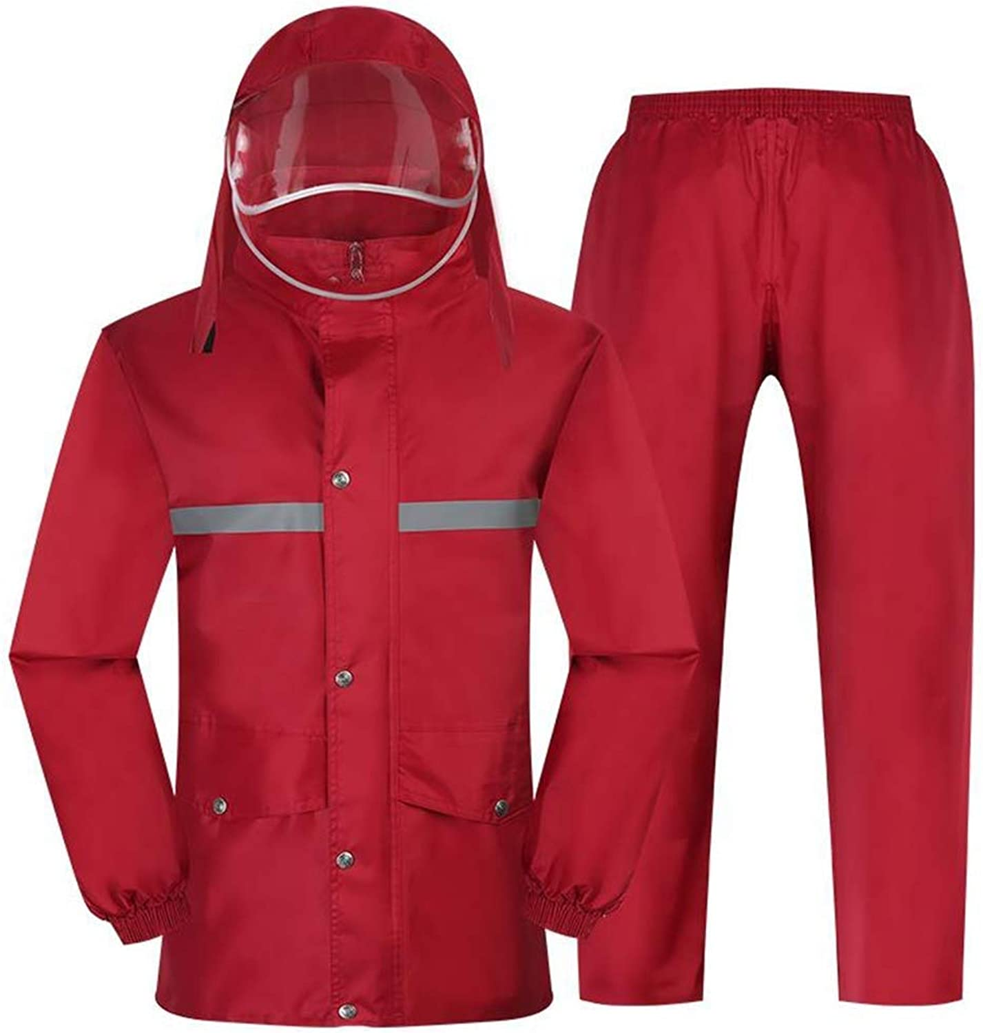 YangMi Split Raincoat Raincoats Women's Suit Raincoat Transparent Hat Grid Lining Design Waterproof and Breathable Highlight Reflective Strip Rainy Day Out Cycling Red Multiple Sizes