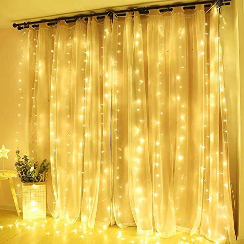 Quntis 6x3M 600 Leds Lichtervorhang Warmweiß, IP44 Erweiterbar Lichterkette mit Stecker Innen Außen, 8 Modi & Memory-Funktion, Dekobeleuchtung für Fenster Zimmer Party Hochzeit Weihnachten Geburtstag