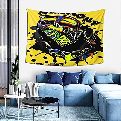 Valentino Rossi - Tapiz de jardín, fase lunar, tapiz de flores de vid con fondo negro, para colgar en la pared para habitación