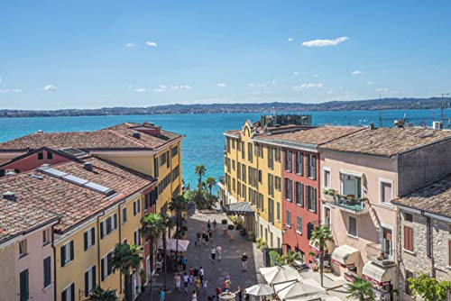 ING Wall Art Print on Canvas(32x21 inches)- Sirmione Lake Garda Architecture Travel Tourism