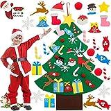 YISKY Fieltro Árbol de Navidad, Árbol Navidad Fieltro Pared, El árbol de Navidad del Fieltro, Arbol Navidad Fieltro DIY, Árbol de Navidad DIY con 26 Unids Desmontable Adornos Navidad Decoración