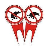 2pcs Señaletica Prohibido Cagadas de Perros Rojo 6 *...
