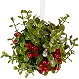 Ornativity Mistletoe Glitter Hanging Ornament - Christmas Mistletoe Ball with Red Berries Holiday Decoration