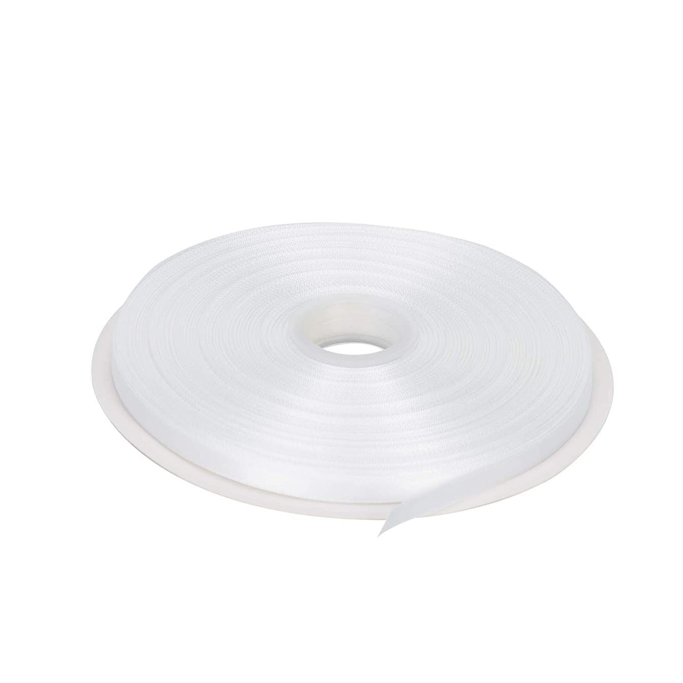 LaRibbons 100 Yards 1/4 inch Double Face Satin Ribbon for Craft, Gift Wrapping, Hair Bow, Wedding Deco - 029 White