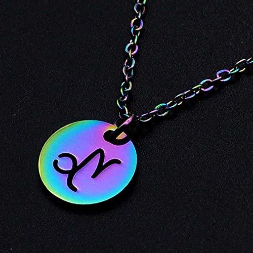DDDDMMMY Sternzeichen Halsketten,Steinbock 12 Sternzeichen Kette Anhänger, Edelstahl 12 Sternbild Halskette Weiblich Farbe Jungfrau Widder Löwe Halskette Verstellbare Halskette