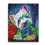 artaslf DIY 5D pintura de diamante cuadrado completo Color Animal perros punto de cruz mosaico imagen diamantes de imitación bordado de diamantes perro-30x40cm sin marco