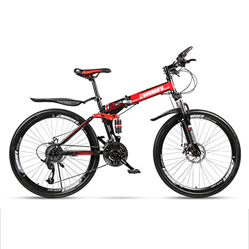 MFZJ1 24' Folding Mountain Bikes,Mountain Bike 21/24/27/30 Speed,Shimano Rear derailleur,Front and Rear Double Suspension System,Folding Mountain Bikes for Adults and Students