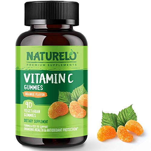 NATURELO Vitamin C Gummies - Delicious Natural Vitamin Supplement for Immunity & Antioxidant Protection - No GMOs - 375mg L-Ascorbate Per Serving - 90 Vegan Gums (Orange Flavour) | 3 Month Supply