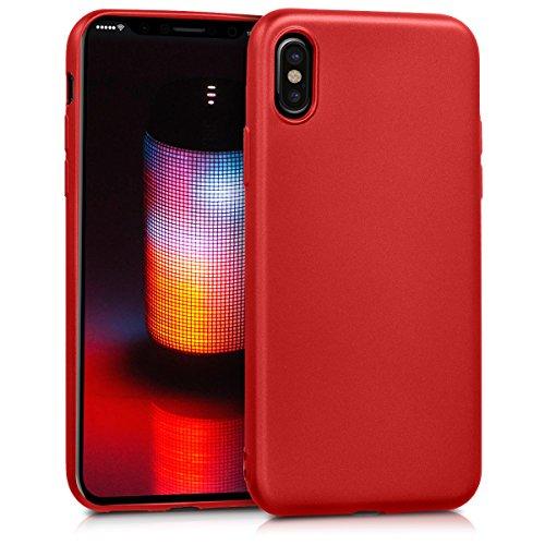 kwmobile Cover Compatibile con Apple iPhone X - Protezione Back Case Silicone TPU effetto Metallizzato - Custodia Morbida rosso scuro metallizzato
