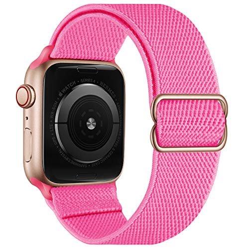 OXWALLEN Stretchy Nylon Solo Loop Compatible with Apple Watch Bands 38mm 40mm, Adjustable Elastic Braided Stretches Women Men Strap for iWatch SE Series 6/5/4/3/2/1,Peach Red