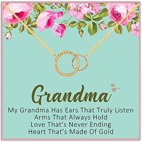 Gold 2 Circle Best Grandma Pendant Necklace